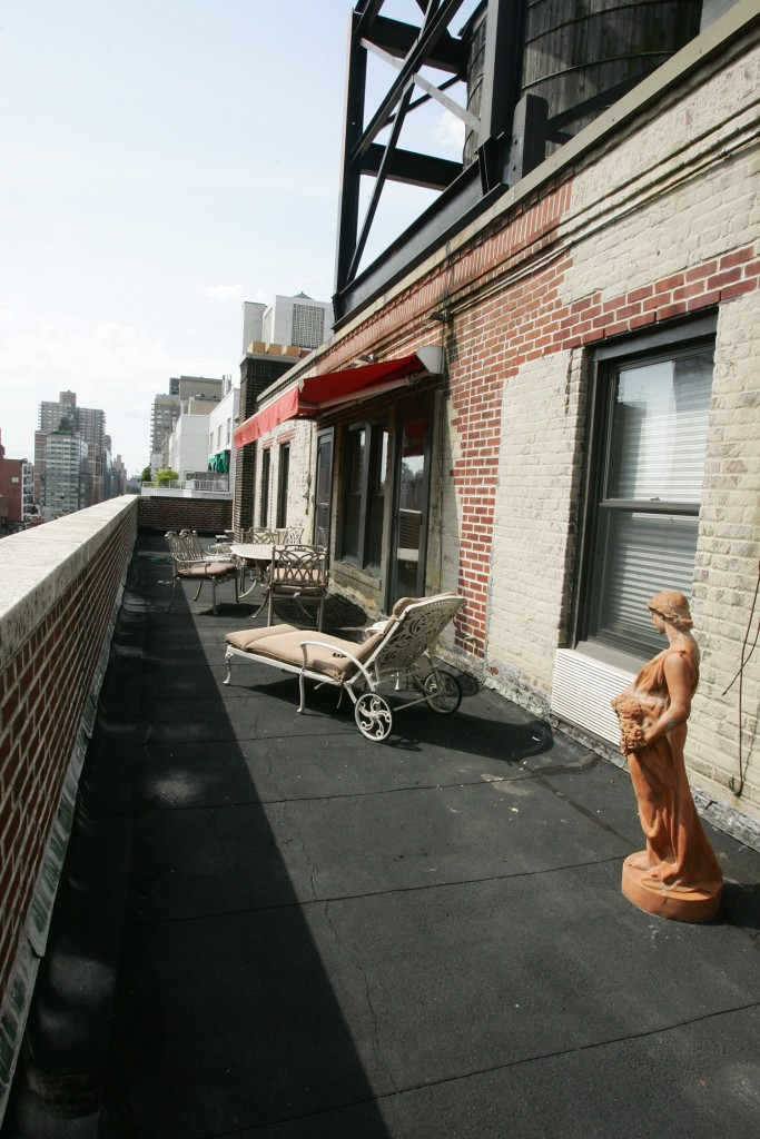 Outdoor Deck of Elaine Kaufman, owner of Elaine's East Side Manhattan apartment shown here on Thursday, August 6th, 2009.